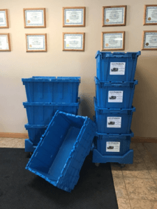 Guindon Moving & Storage blue moving boxes